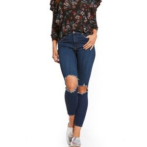 Free People High Rise Busted Knee Skinny Jean